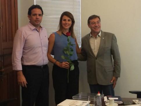 Com o secretário de Desenvolvimento Econômico Liszt Abdala e o Presidente da Associação Comercial, Paulo Sader