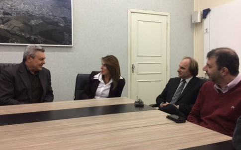Em Lages, com o prefeito Antonio Ceron, Giovani Durigon e o vereador Maurício Batalha